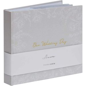 "Amore Grey Floral Wedding Photo Album Holds 50 4"" x 6"" Prints"