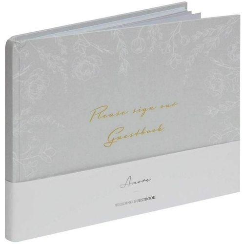 Amore Grey Floral Wedding Guest Book - 40 Inner Pages