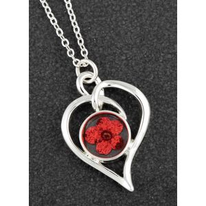 Equilibrium Eternal Flowers Modern Heart Necklace - Red