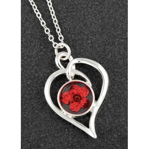 Equilibrium Eternal Flowers Modern Heart Necklace - Red