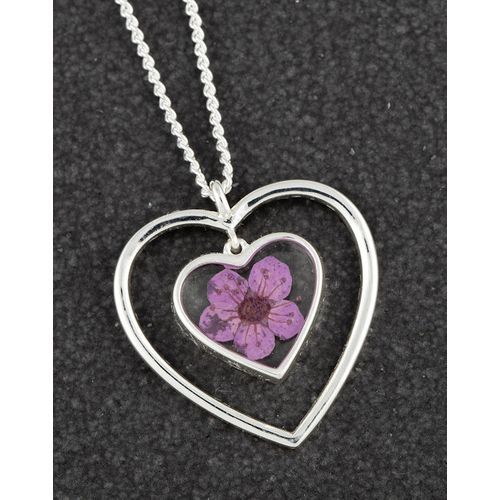 Equilibrium Eternal Flowers Heart Necklace - Purple