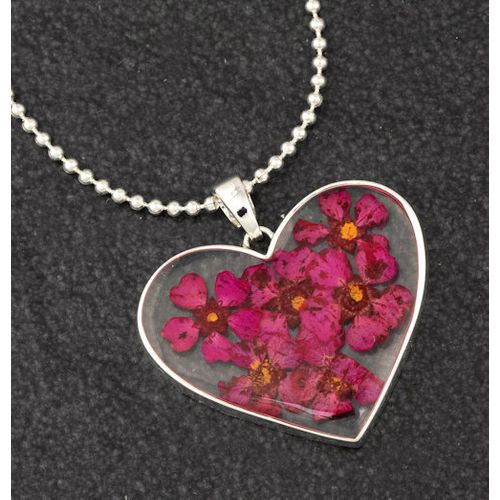 Equilibrium Eternal Flowers Collection Large Heart Necklace - Pink