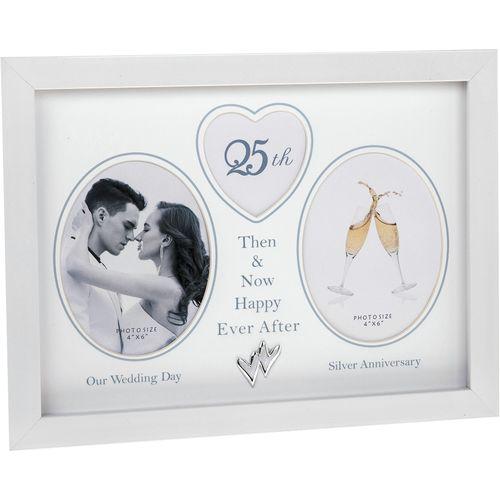 Modern White Then & Now 25th Silver Wedding Anniversary Photo Frame