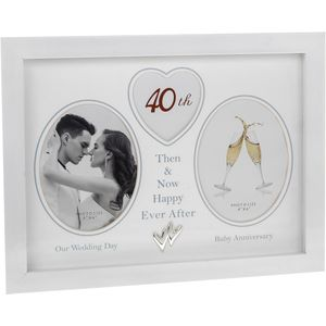 Modern White Then & Now 40th Anniversary Photo Frame