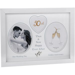 Modern White Then & Now 50th Anniversary Photo Frame