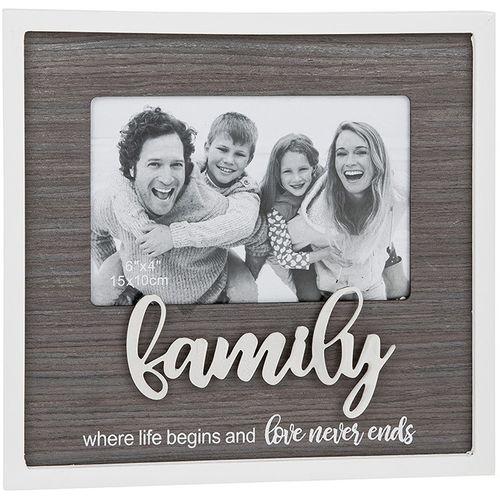 "Stylish Script Photo Frame 6"" x 4"" - Family"