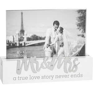 "Loving Script Photo Frame 6x4"" - Mr & Mrs"