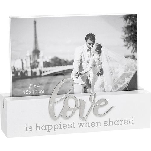 """Loving Script Photo Frame 6"""" x 4"""" - Love is happiest when shared"""