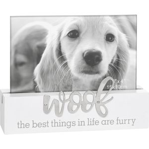 "Loving Script Photo Frame 6x4"" - Woof (Dog)"