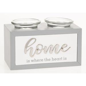 Loving Script Double Tea Light Candle Holder - Home