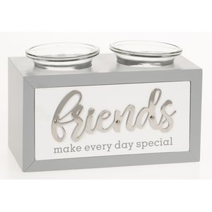 Loving Script Double Tea Light Candle Holder - Friends