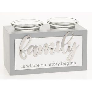 Loving Script Double Tea Light Candle Holder - Family