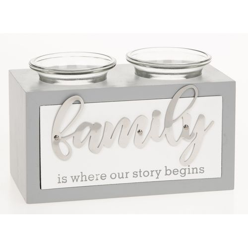 Loving Script Double Tealight Holder - Family is where our story begins