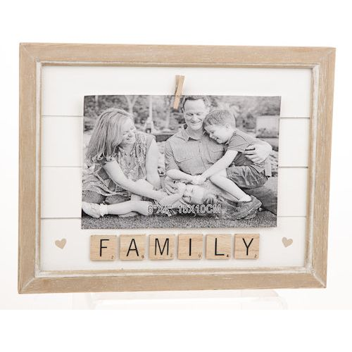"Scrabble Sentiments Peg Photo Frame 6"" x 4"" - Family"