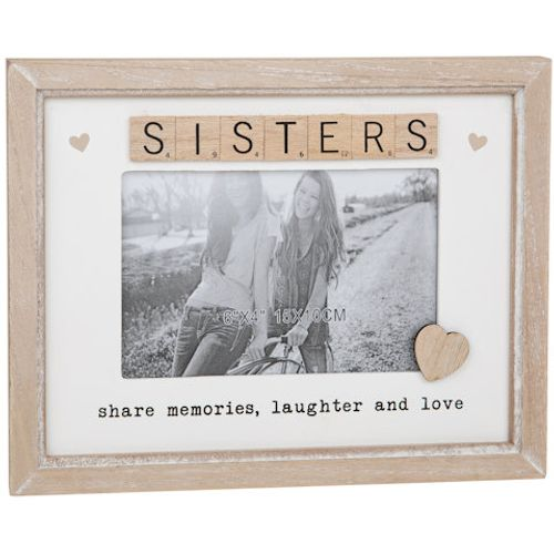 "Scrabble Sentiments Photo Frame 6"" x 4"" - Sisters"