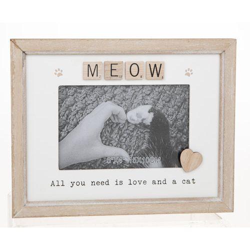 """Scrabble Sentiments Photo Frame 6"""" x 4"""" -Meow (Cat)"""