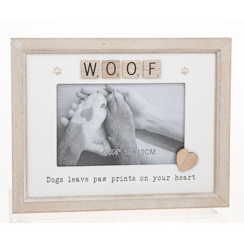 "Scrabble Sentiments Photo Frame  6"" x 4"" - Woof (Dog)"