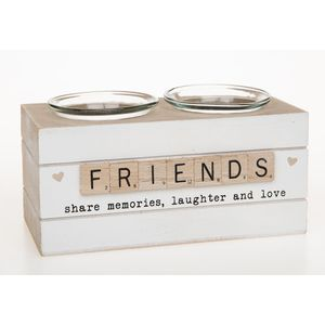 Scrabble Sentiments Double Tea Light Candle Holder - Friends