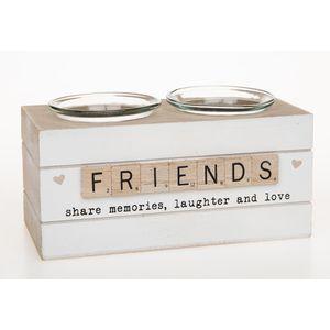 Scrabble Sentiments Double Tea Light Candle Holder - Friends