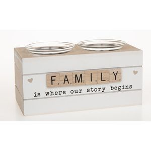 Scrabble Sentiments Double Tea Light Holder - Family