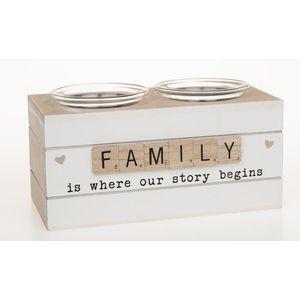 Scrabble Sentiments Double Tea Light Holder - Family
