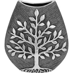 Tree of Life Large Wide Vase - Gunmetal