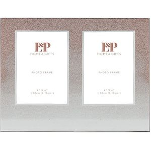 "Rose Gold Glitter Double Photo Frame 4"" x 6"""