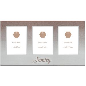 "Rose Gold Glitter Triple Photo Frame 4"" x 6"" - Family"