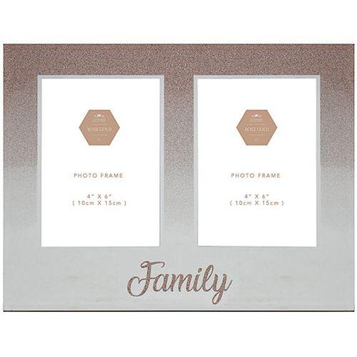 "Rose Gold Glitter Double Photo Frame 4"" x 6"" - Family"