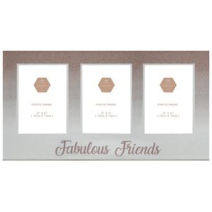"Rose Gold Glitter Triple Photo Frame 4"" x 6"" - Fabulous Friends"