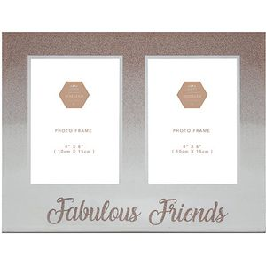 "Rose Gold Glitter Double Photo Frame 4x6"" - Friends"