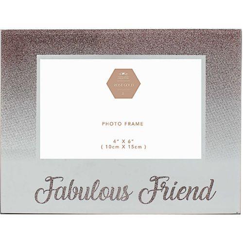 "Rose Gold Glitter Photo Frame 4"" x 6""  - Fabulous Friend"