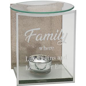 Glass & Rose Gold Glitter Wax Melt/Oil Burner - Family
