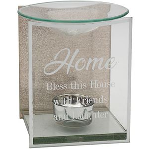 Glass & Rose Gold Glitter Wax Melt/Oil Burner - Home
