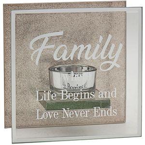Glass & Rose Gold Glitter Tea Light Candle Holder - Family