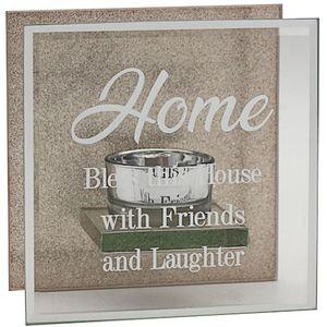 Glass & Rose Gold Glitter Tealight Holder - Home