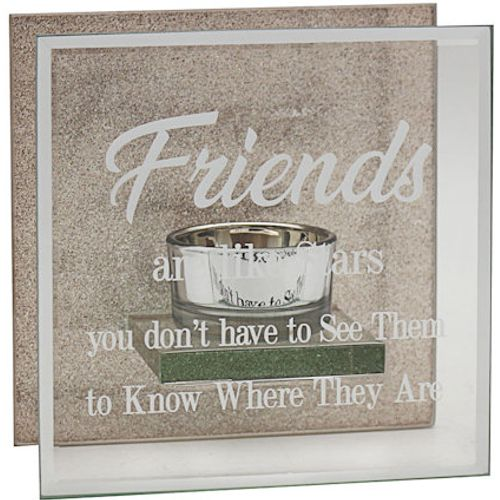 Glass & Rose Gold Glitter Tealight Holder - Friends