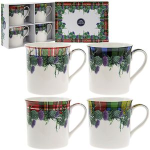Leonardo 4 Fine China Mugs Set - Floral Tartan