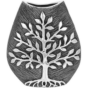 Tree of Life Small Wide Vase - Gunmetal
