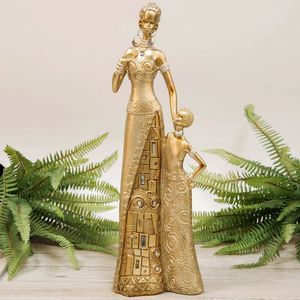 Hestai Collection Golden Masai Mother & Child Figurine