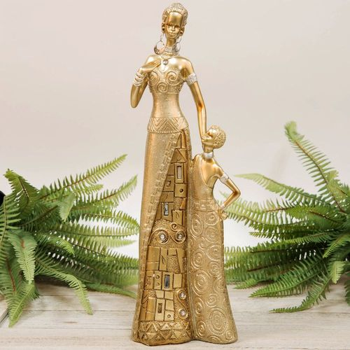 Hestai Collection Golden Masai Mother & Child Figurine 40cm