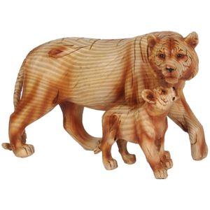 Naturecraft Wood Effect Resin Figurine - Tiger & Cub