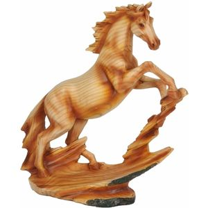 Naturecraft Wood Effect Resin Figurine - Rearing Horse
