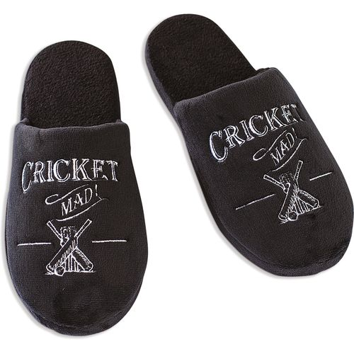 Ultimate Man Gift Slippers - Cricket Mad! (Large)