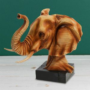 Naturecraft Wood Effect Resin Figurine - Elephant Head