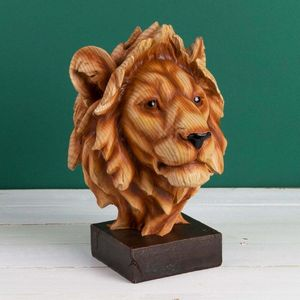 Naturecraft Wood Effect Resin Figurine - Lion Head