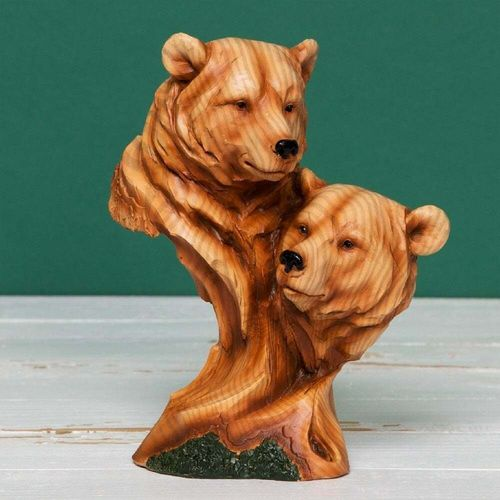 Naturecraft Wood Effect Resin Figurine - Two Bear Heads NC1085