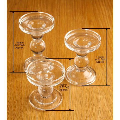 Set of Three Reverible Glass Pillar or Dinner Candle Holders - Small Medium & Large