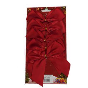 5 Satin Bows with Gold Twist Tie (12cm) - Red