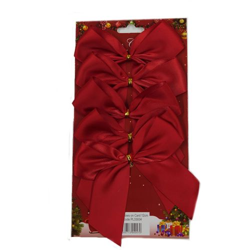 Red Satin Bows with Gold Twist Tie (12cm) Pack of 5 - Red
